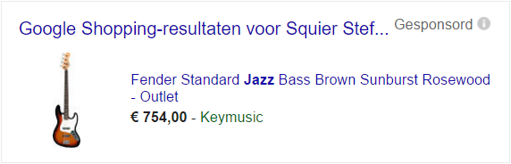 Google shopping Sponsored screenshot Keymusic | AdvertentiePlanet